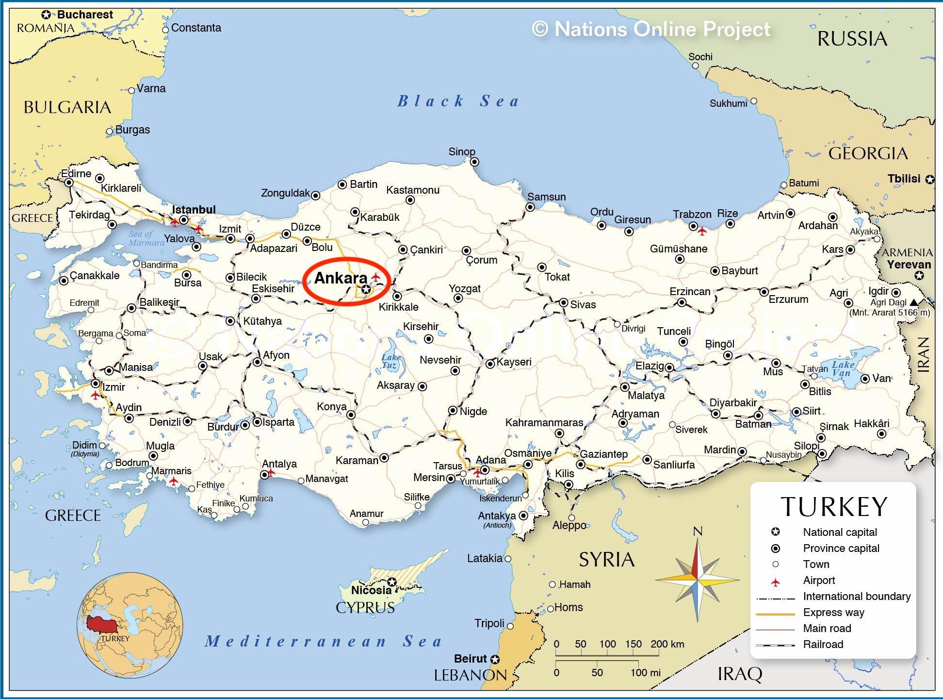 Paakaupunki Turkin Kartta Turkin Karttaa Paaoma Lansi Aasia