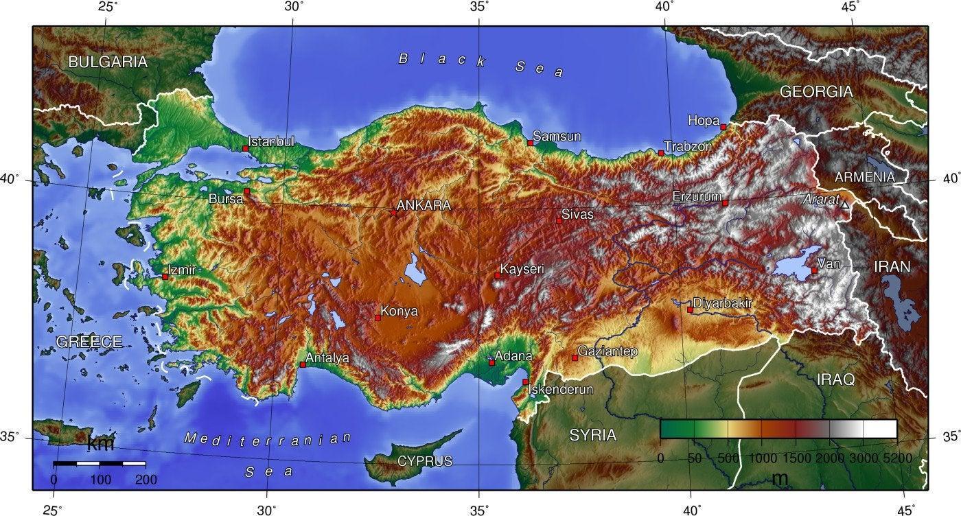 Turkki Korkeus Kartta Kartta Turkin Korkeus Lansi Aasia Aasia