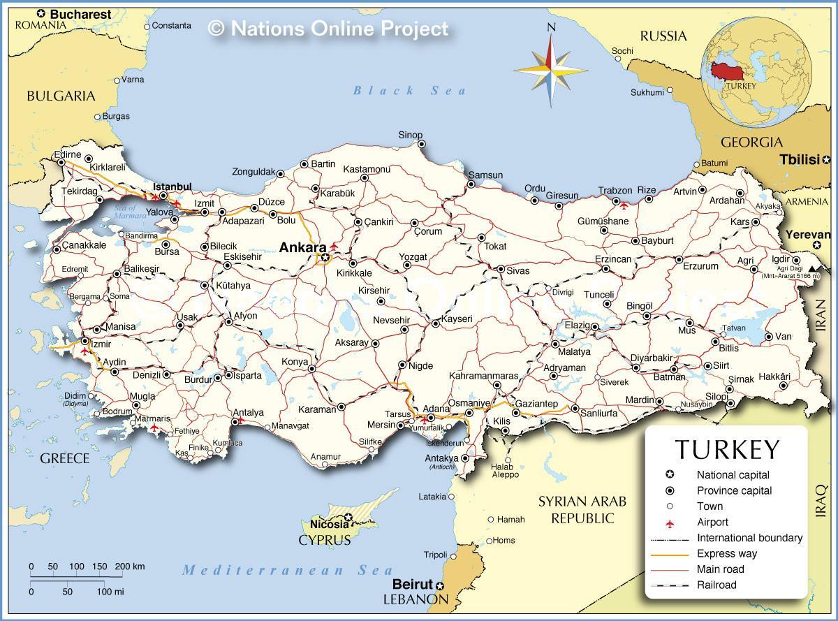 Turkki Maa Kartta Kartta Turkin Maassa Lansi Aasia Aasia